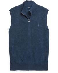 Polo Ralph Lauren - Ralph Lauren Cotton Mesh Full-zip Vest - Lyst