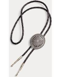 RRL Braided Leather Bolo Tie - Metallic