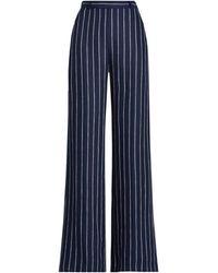Polo Ralph Lauren Pinstripe Linen Trouser - Blue