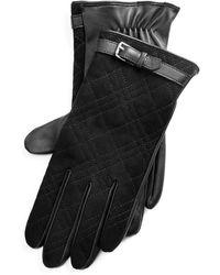 Ralph Lauren Quilted Suede Gloves - Black