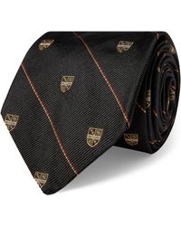 Ralph Lauren Striped Silk Narrow Club Tie - Black