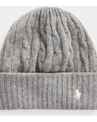 Polo Ralph Lauren Cable-knit Wool-cashmere Hat - Grey