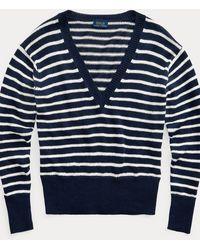 Polo Ralph Lauren Jersey De Lino A Rayas - Azul