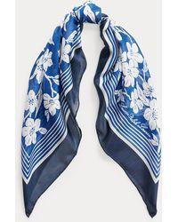 Ralph Lauren Foulard en soie et modal Renee - Bleu