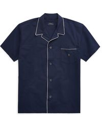 Ralph Lauren Cotton Seersucker Pajama Shirt - Blue