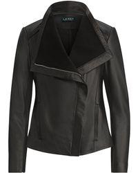 Lauren by Ralph Lauren - Leather Funnelneck Jacket - Lyst