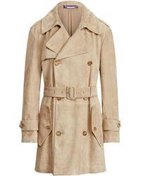 Ralph Lauren Collection Ralph Lauren Arlington Lamb-suede Trench Coat - Natural