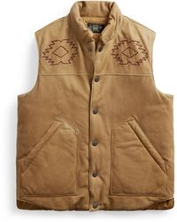 RRL Hand-embroidered Leather Gilet - Brown