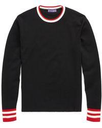 Ralph Lauren Purple Label - Stripe-trim Wool Sweater - Lyst