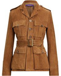 Ralph Lauren Collection Ralph Lauren Bryn Belted Lamb-suede Jacket - Brown