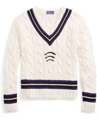 Ralph Lauren Purple Label - Pull de cricket en laine et coton - Lyst