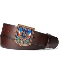 Ralph Lauren Shield-buckle Leather Belt - Brown