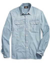 RRL Indigo Chambray Workshirt - Blue