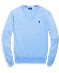 Polo Ralph Lauren Slim Fit Cotton V-neck Sweater - Blue