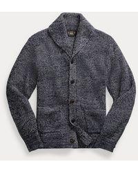 RRL Cardigan sciallato in cotone e lino - Blu
