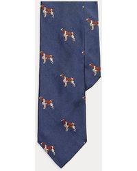 Polo Ralph Lauren Cravate étroite chien d'arrêt en soie - Bleu