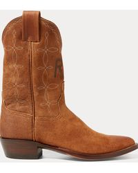 RRL Plainview Suede Cowboy Boot - Brown