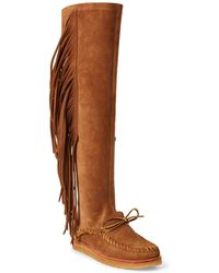 Polo Ralph Lauren - Channing Fringe Moccasin Boot - Lyst