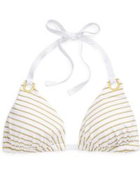 Ralph Lauren - Gold-striped Bikini Top - Lyst