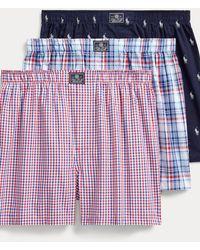 Polo Ralph Lauren Lot de trois caleçons en coton - Bleu