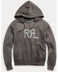 RRL Sweat à capuche logo en molleton - Gris