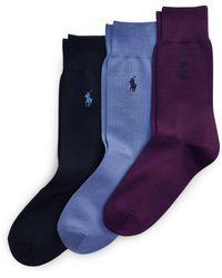 Polo Ralph Lauren Lot de 3 paires de chaussettes mercerisées - Bleu
