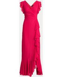 Ralph Lauren Vestido De Georgette Con Volantes - Rosa