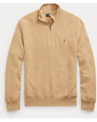 Polo Ralph Lauren Pull demi-zippé en coton piqué - Neutre