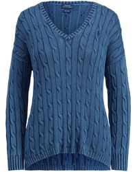 Polo Ralph Lauren - Cable-knit Side-slit Sweater - Lyst