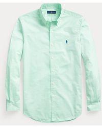 Polo Ralph Lauren Camisa De Popelina Custom Fit A Rayas - Verde