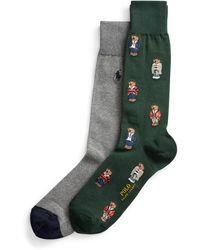 Polo Ralph Lauren Lot de 2 paires de chaussettes habillées Polo Bear - Vert