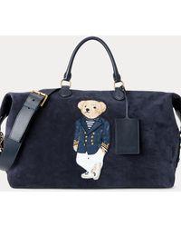 Ralph Lauren Purple Label Suede Polo Bear Duffel - Blue