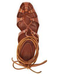 Ralph Lauren Vachetta Leather Ankle-wrap Sandal - Brown