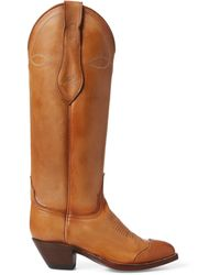 Ralph Lauren Kiera Leather Cowboy Boot - Brown