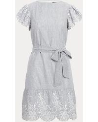 Ralph Lauren Baumwollkleid mit Schmetterlingsärmeln - Grau