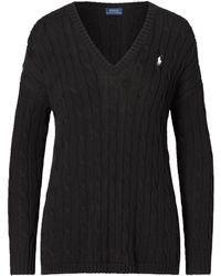 Polo Ralph Lauren Cable-knit Side-slit Sweater - Black