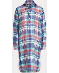 Polo Ralph Lauren Plaid Linen Shirtdress - Blue