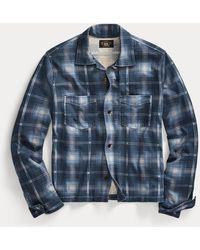 RRL Camisa De Trabajo De Punto A Cuadros - Azul