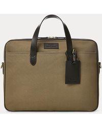 Polo Ralph Lauren Leather-trim Canvas Briefcase - Brown