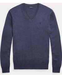 Polo Ralph Lauren Slim-Fit-Pullover aus Merinowolle - Blau