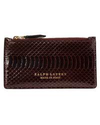 Ralph Lauren Ayers Snakeskin Card Case - Brown