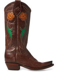 Ralph Lauren Selene Leather Cowboy Boot - Brown
