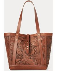 RRL Hand-tooled Leather Tote - Brown