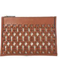 Polo Ralph Lauren Pochette en cuir à motif chaîne - Marron