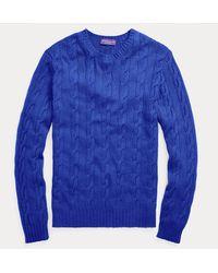 Ralph Lauren Purple Label Jersey De Cachemira En Punto De Ochos - Azul