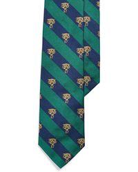 Ralph Lauren Stripes & Tiger Narrow Tie - Green