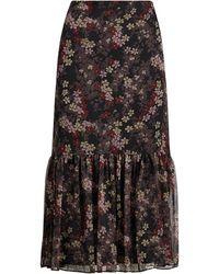 Ralph Lauren Floral-print Georgette Skirt - Black