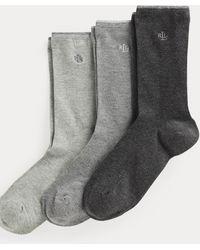Ralph Lauren Tre paia di calze in cotone stretch - Grigio