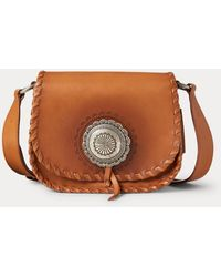 Ralph Lauren Burnished Leather Small Concho Crossbody - Brown