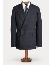 RRL Checked Wool Suit Jacket - Blue